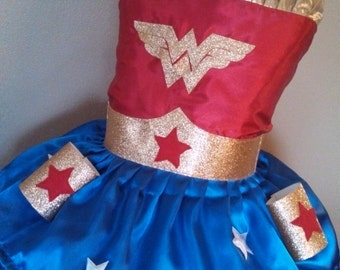 Wonder woman girl dress up tutu Halloween costume pageant outfit custom made sizes newborn 2t 3t 4t 5t 6