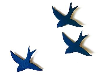 Ceramic wall art swallows We three together Indigo deep navy blue birds Porcelain sculpture Bathroom kitchen living room art Blue art