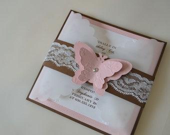 Customizable Lace Butterfly Vellum Invitation