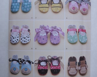 2000s UNCUT Simplicity Pattern 2491 Infant Baby Shoes, Booties, Slippers Size XS-L