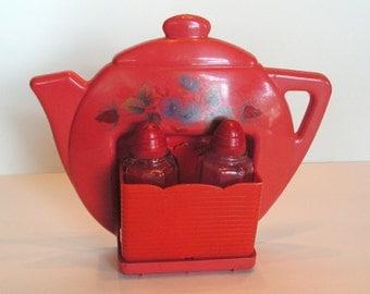 Vintage 1950s Superlon red teapot salt and pepper holder