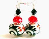 Black on White Earrings, Drop Dangle Earrings, Lampwork Earrings, Beadwork Earrings, Beaded Earrings, Gift for Her, Handmade, Mothers Day