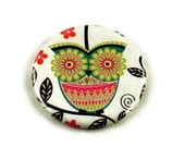 Handmade Pocket Mirror  Makeup Cosmetic Purse Mirror in  Painted Owl - Teal (PM93T)