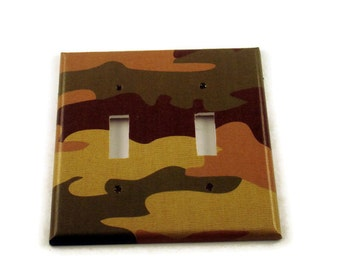 Double Light Switch Cover Wall Decor Light Switchplate Switch Plate in  Camo (271D)