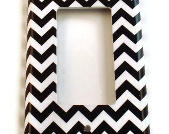 Rocker Light Switch Cover Wall Decor Switchplate Switch Plate in  Black Chevron  (150R)