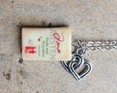 Pride and Prejudice Necklace with Book Charm and Intertwined Hearts Charm
