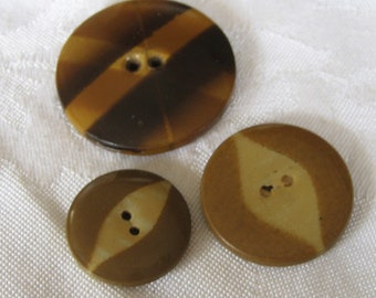 VINTAGE Lot of 3 Celluloid Tight Top BUTTONS