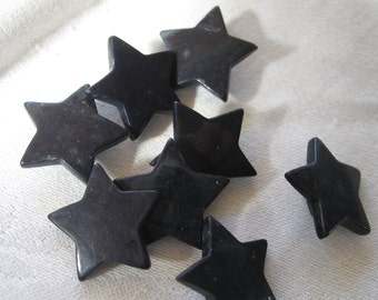 Set of 8 Small VINTAGE Realistic Star Black Plastic BUTTONS
