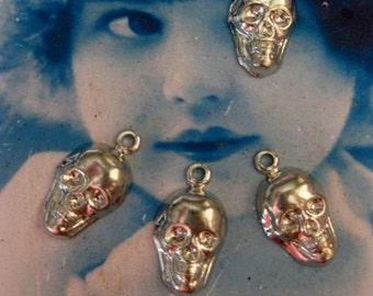 Imitation Rhodium Brass Skull Charms 636SIL x4