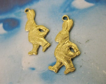 Alice in Wonderland Raw Brass White Rabbit Charms 157RAW x2