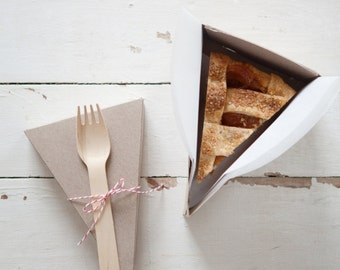 DELUXE Two-Piece Lidded Pie Slice Boxes in Kraft with Forks, Parchment + Classic Baker's Twine
