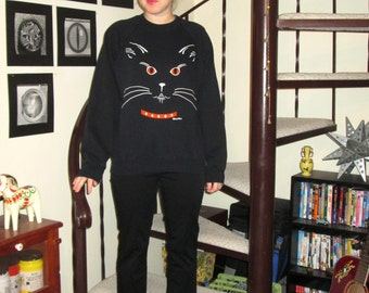 Vintage black cat sweatshirt - large