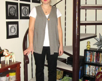 Vintage black and white striped drapey vest - medium