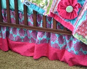 Crib Skirt or Dust Ruffle in Damask Hot Pink and Turquoise Blue