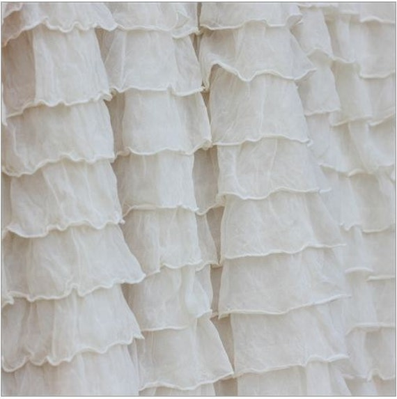 White ruffle valance white ruffle curtain nursery curtains for Curtain fabric for baby nursery