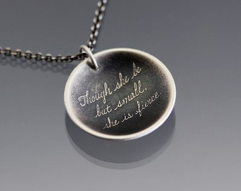 Cursive Necklace, Fierce Quote Necklace, handwritten she is fierce, Shakespeare quote