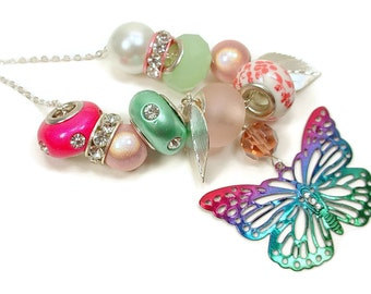 Necklace with Multicolored Butterfly and Leaf Charms and Lamp Worked, Large Hole Beads
