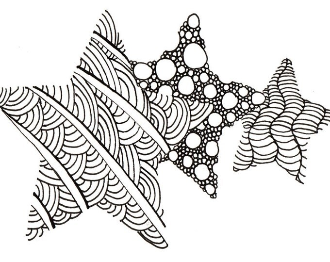 Printable DIY Zendoodle Stars card 5x7 pdf from Kauai Hawaii Mele Kalikimaka Christmas doodle black white zentangle inspired art