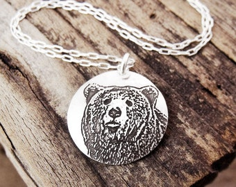 Silver Bear necklace, woodland animal jewelry, bear jewelry, mama bear