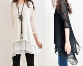 Moroccan breeze - zen layered tunic dress / idea2lifestyle boho tunic / 3/4 sleeve dress light cotton dress+ sleeveless flowing tunic(Q5110)