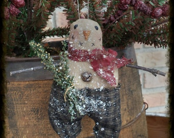 Instant Download Little Frosty Primitive Snowman Ornie Epattern