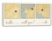 Personalized Holiday Gift 3 map canvas art using Three Location, relationship map, map picture heart, personalized couple 12X24