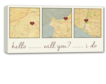 Personalized Gift 3 map canvas art using Three Location, relationship map, map picture heart, personalized couple 12X24