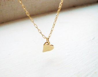 Little Gold Sweet Heart Necklace in Gold Filled and Brass - Great Valentines Day Gift, Tiny Gold Heart Necklace