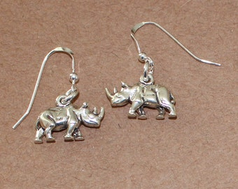 Earrings - Sterling Silver 3D RHINOCEROS - Wildlife, Animal,Totem, Rhino