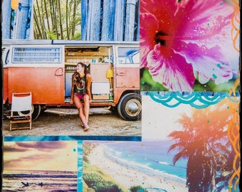 GLASSED, SUMMERTIME, 4x4 and Up, Surfing Hand Painted, Encinitas, Beach,Hibiscus, Travel, Palm Trees, VW Bus Ocean Art, wall art, gift
