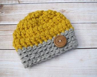 Crochet Baby Boy Beanies, Newborn Boy Beanie, Infant Boy Hat, Coming Home Hat, Baby Winter Hat, Newborn Photo Prop