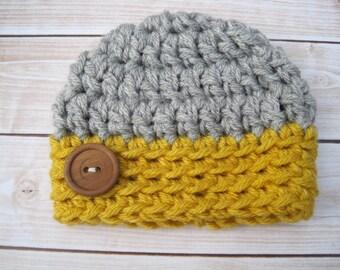 Infant Baby Hat, Crochet Baby Hat, Baby Boy Hat, Newborn Hat for Boy Baby,  Newborn Boy Hat, Baby Beanie, Crochet Baby Hat Boy, Yellow,