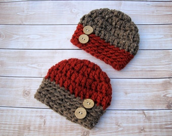 Baby Twin Hat Set, Twin Baby Beanies, Twin Baby Boy Hats, Hats for Boys, Newborn Twin Hats, Infant Twin Hats, Crochet Baby Hat