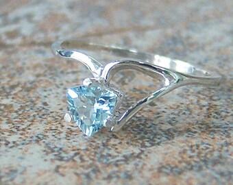 Petite Genuine Aquamarine Trillion Sterling Silver Ring, Cavalier Creations