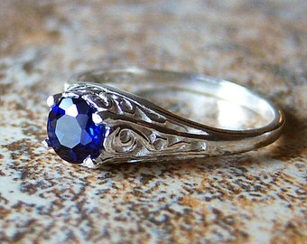 Petite Lab Created Blue Sapphire Sterling Silver Filigree Ring, Cavalier Creations