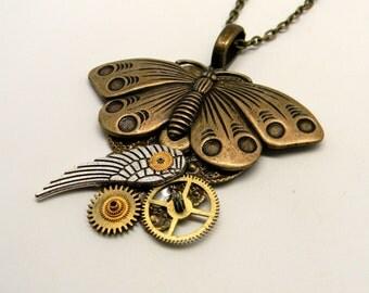 Steampunk jewelry. Steampunk butterfly necklace pendant.