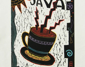 Linocut Java Hand Pulled Print Printmakinghand Colored