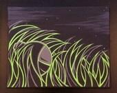 "Original Ninja Girl painting by Kokeshi Clan. Acrylic on canvas 8""x10"" Grassroots series 2 of 4"