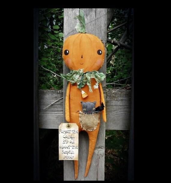 Halloween skinny pumpkin doll pattern pdf fall primitive