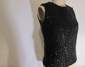 1950s Black Sequined Blouse Top Rockabilly VLV SALE