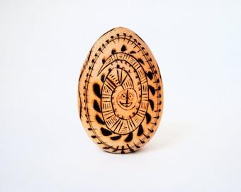 pyrography art wood burned wooden egg primitive nature symbols snake serpent tribal scorched etched handmade native designs vintage