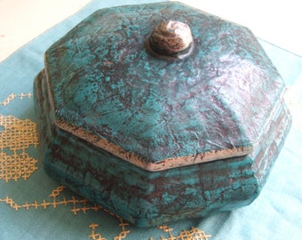 Vintage Handmade Ceramic Lidded Dish Container Teal and Black Octagon