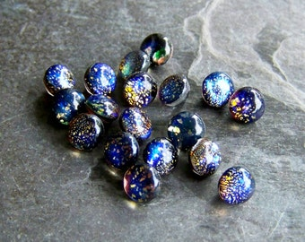 Fire Opals, Vintage Rare Black Opal Harlequin Glass Stones-18 Stones