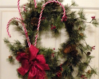 """Wispy Pine Wreath with 26"""" Candy Canes, Red Berries and Pine Cones"""