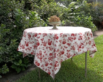 READY to SHIP French Toile Tablecloth WAVERLY Arbor Rose Red Toile Table Cover Handmade Wedding Table Setting French Country Prairie Cottage
