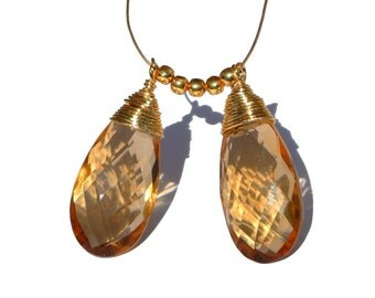 2Pcs 22kt Gold Vermeil Wire Wrapped AAA Champagne Quartz Faceted Pear Briolettes 30x12mm Wire Wrapped Dangles, Charm, Pendant