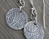 Sterling Silver Paisley Link Coin Earrings PMC