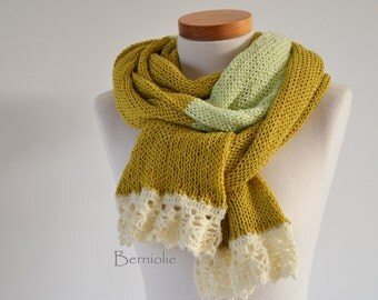 Knitted scarf, mustard yellow and soft green with creme lace trim and pearly beads K109