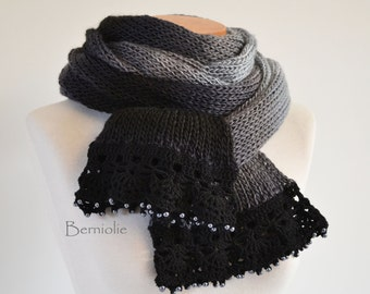 Knitted scarf, shades of grey with lace crochet trim and glass pearl beads K120