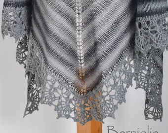 Knitted shawl with crochet lace trim, grey / gray, M195